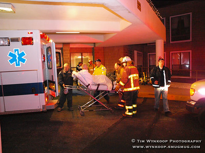 Lopatcong Township, NJ, 2008-03-10: Residents of the Lopatcong Center on Red School Lane in Lopatcong Township were evacuated from the second floor early Monday morning due to a smoke condition. Fire and squad units from multiple surrounding municipalities assisited in transporting residents to the Brakeley Center, a sister facility on the same road. (Photo by: Tim Wynkoop)