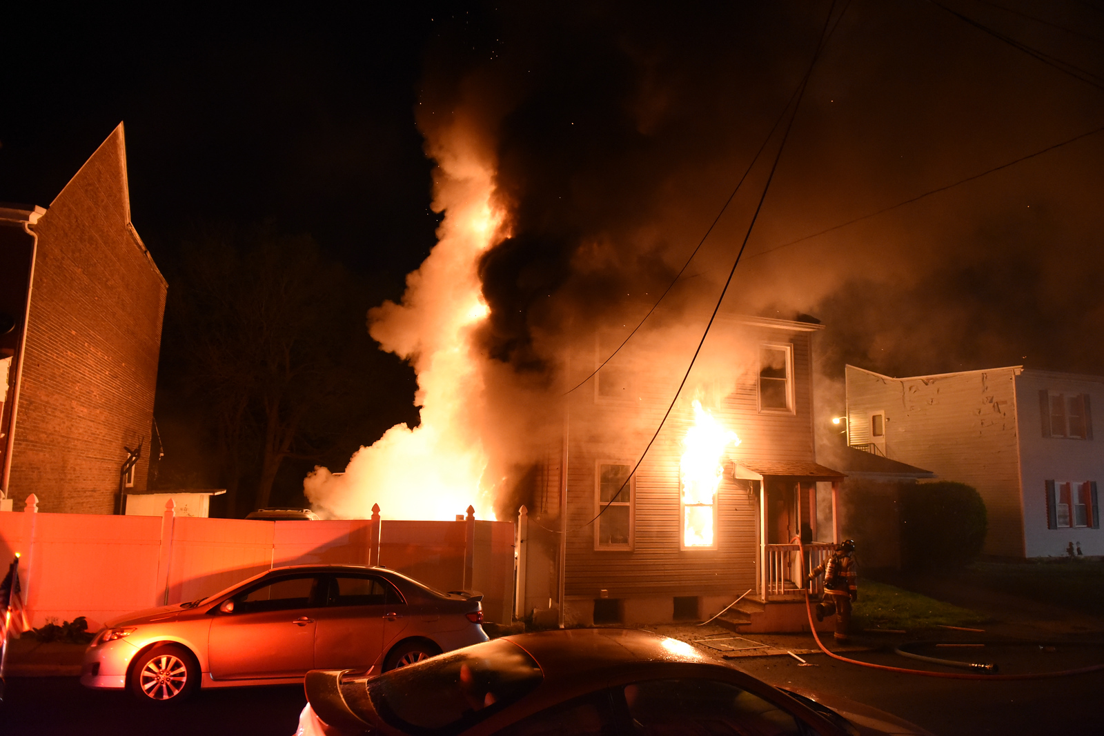 An early-morning fire May 5, 2018, tore through 1217 Spruce St. in Easton and killed a dog.