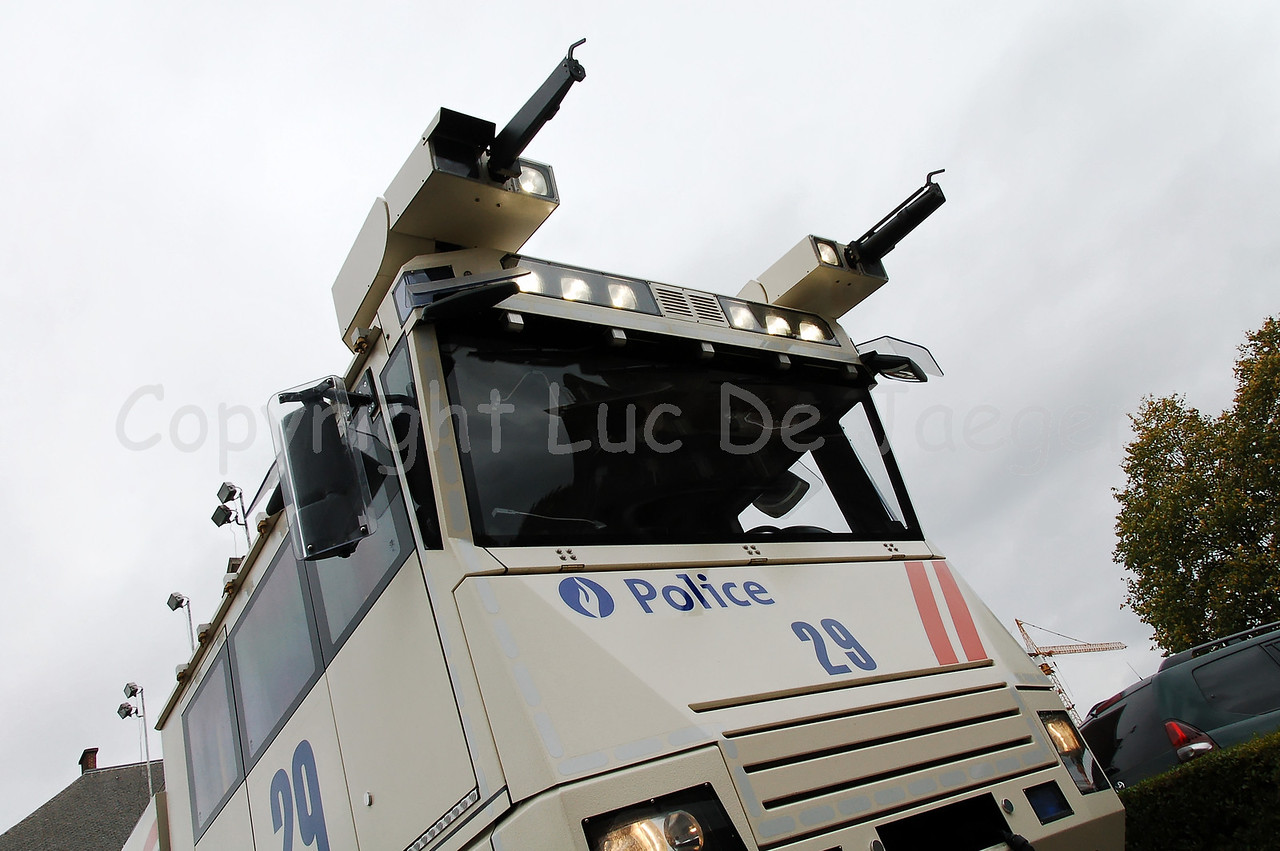 View of the cabin of the brand new Ziegler Wawe 9 water cannon mounted on a MAN TGA chassis. The Ziegler water cannons replace the MOL MSB18 6x6 vehicles. Photo captured during very overcast weather.
