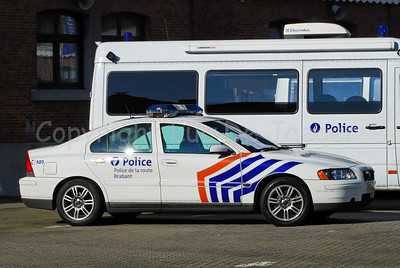 A Volvo S60 rapid intervention car of the federal traffic (highway) police (wegpolitie).