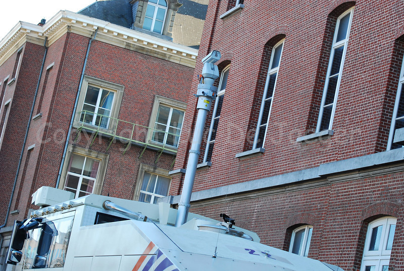 View on the central telescopic video camera (max. height is 6 meter/19.7 feet) of the brand new Ziegler  Wawe 9 water cannon. The images can be sent wirelessly to any other location. Besides this central camera, each cannon has its own video camera linked to an individual monitor and recorder in the cabin. The Ziegler water cannons will replace the MOL MSB18 6x6 vehicles.