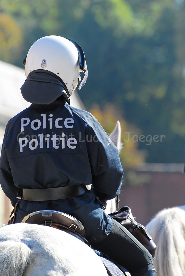 A police officer of the federal mounted police in riot gear.