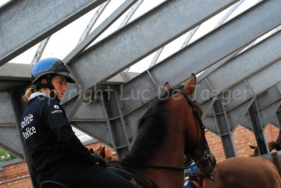 A female member of the federal mounted police ready to go on patrol.