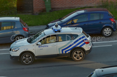 A Nissan Qashqai patrol car of the local police of Ghent (Gent) in Belgium. Photo taken in the late afternoon.