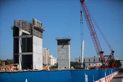 First section of the new Police HQ wall being placed