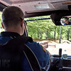 A view from inside the new ATV type Lowell police vehicle being driven by Lowell PD officer Paul Paradise, as it goes off-road near the UMass Lowell Tsongas Arena. SUN/David H. Brow
