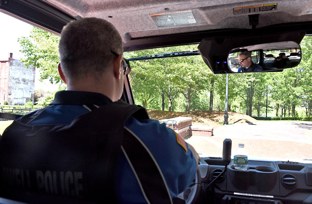 . A view from inside the new ATV type Lowell police vehicle being driven by Lowell PD officer Paul Paradise, as it goes off-road near the UMass Lowell Tsongas Arena. SUN/David H. Brow