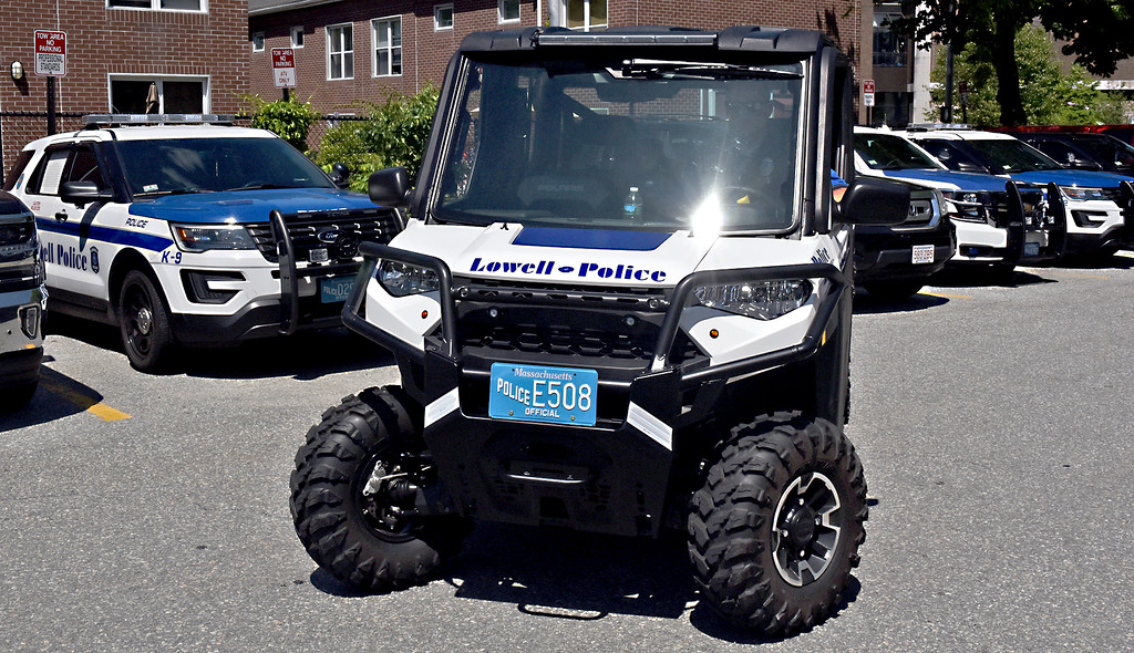 . Shown here is a view of the new ATV off-road type Police vehicle parked near the SUV type police vehicle\'s at the Lowell Police station. SUN/David H. Brow