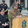 Fitchburg Mayor Steve DiNatale gives his remarks during the 2016 Police Memorial Services and rededication of Police Memorial Park. SENTINEL & ENTERPRISE / Jim Marabello