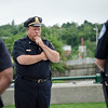 Chief Ernie Martineau pauses for a moment of reflection while members of the Fitchburg Police Department gathered to honor the fallen Dallas police officers involved in a shooting on Thursday evening. SENTINEL & ENTERPRISE / Ashley Green