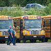 State Police search busses at First Student Bus Co. on Linus Allain Ave in Gardner after a suspect fled from a terminated pursuit and crash on Rt 2. The suspect Brian Lafrennie was later apprehended on felony warrants on nearby Saunders St. SENTINEL & ENTERPRISE/ JIm Marabello