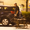 A State Police K9 and his Trooper handler emerge from the woods behind the Timpany Blvd Stop & Shop after the Citizens Bank branch inside the store was robbed. SENTINEL&ENTERPRISE/ Jim Marabello