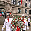 Heading out for the laying of the wreath at Polish Flag Raising is L-R, State Sgts @ Arms, Diane Parker and Fernando Medina. SUN/David H. Brow