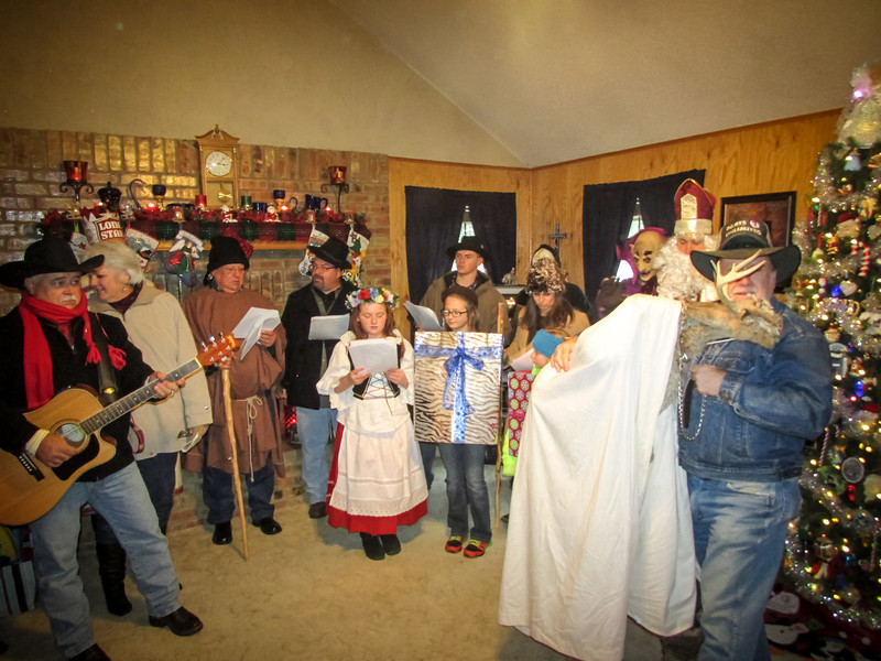 Musicians and carolers singing koledy at the Duck (Ron) & Linda Johnson home