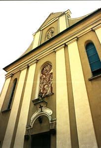 DEBICA - Front of the Catholic Church, north side. There are two old Catholic Churches in Debica, plus one new one and one that is nearly completed, only about two hundred and fifty yards from this church, which is close to the market square (Rynek) near the western part of downtown.