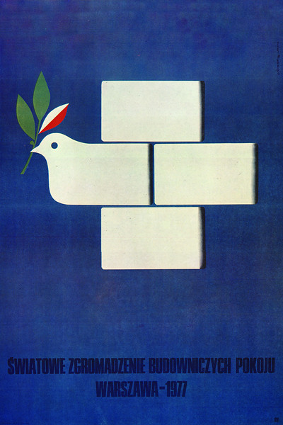 "World Assembley of Builders of Peace Warsaw 1977 (Światowe Zgromadzenie Budowniczych Pokoju, Warszawa 1977 r.)<br /> <br /> 2nd prize in Polish Peace Committee contest for poster: ""World Assembley of Builders of Peace in 1976"" KAW award, Warsaw, at 7th Polish Poster Biennale in Katowice in 1977.<br /> <br /> Sliwka, Karol"