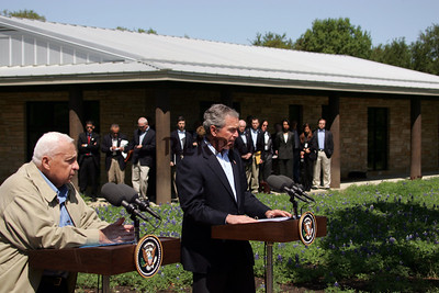 President George W Bush and Isreal's Prime Minister Sharon at Bush Ranch
