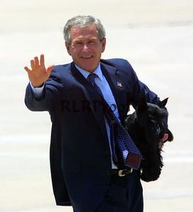 George W Bush with dog