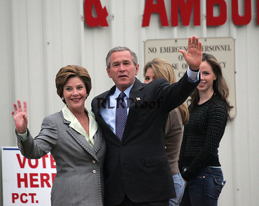 President George W Bush 2004 Election Day wave