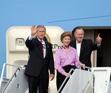 President George HW and W Bush and 1st Lady Laura Return from Vatican Pope Funeral