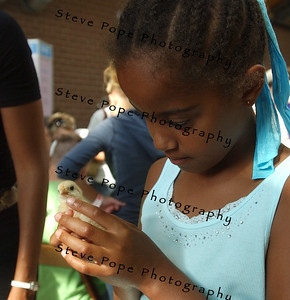 Malia Obama, daughter of U.S. Senator, and Democratic presidential candidate Barack Obama, holds a baby chicken during a visit to the new Animal Learning Center, at the Iowa State Fair, Thursday August 16, 2007 in Des Moines, Iowa.