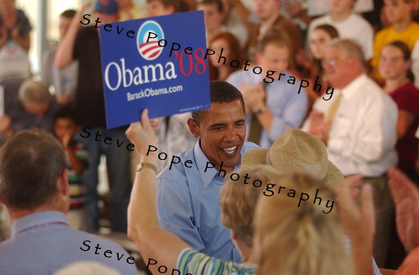 Democratic Senator from Illinois, Barack Obama, meets potential supporters at an event in Waukee, Iowa on Sept. 4, 2007. Steve Pope Photo