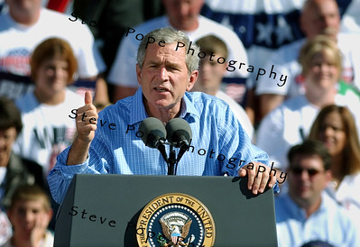 President George W. Bush speaks at a rally in Waterloo, Iowa Saturday Oct. 10, 2004. The day after the second of three debates with Sen. John Kerry the Democratic opponent, Bush was back on the campaign trail. (EPA/Steve Pope)
