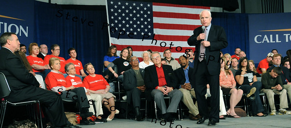 U.S. Republican Senator and presidential hopeful John McCain speaks at a Town Hall meeting in Des Moines, Iowa, USA, 1 May, 2008.