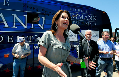 Republican Presidential candidate Michele Bachmann makes a stop at Taylor's Maid Rite restaurant in Marshalltown, as part of a 3 day bus trip across Iowa, on Saturday July 2, 2011. (Steve Pope/Photo)