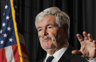 Former House speaker and Republican Presidential candidate, Newt Gingrich, speaks to a group of Iowans at the Embassy Suite Hotel, Monday May 16, 2011. It was Gingrich's third of 17 stops planned across Iowa the next 6 days after announcing last week that he is seeking the Republican nomination for president. (Steve Pope/Photo)