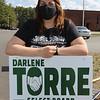 Candidate for Billerica Select Board Darlene Torre, outside the Hajjar School polling place.  JULIA MALAKIE/LOWELLSUN