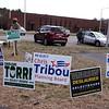 Signs outside Hajjar School for Billerica town elections.  JULIA MALAKIE/LOWELLSUN
