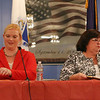 State Rep. Colleen Garry, right, and challenger, Dracut School Committee member Sabrina Heisey, conclude their debate at the Dracut American Legion, without a handshake. (SUN/Julia Malakie)