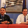 Mike Armano, left, and former state senator Barry Finegold, running in Democratic primary for state senate, debate at Dracut American Legion. (SUN/Julia Malakie)