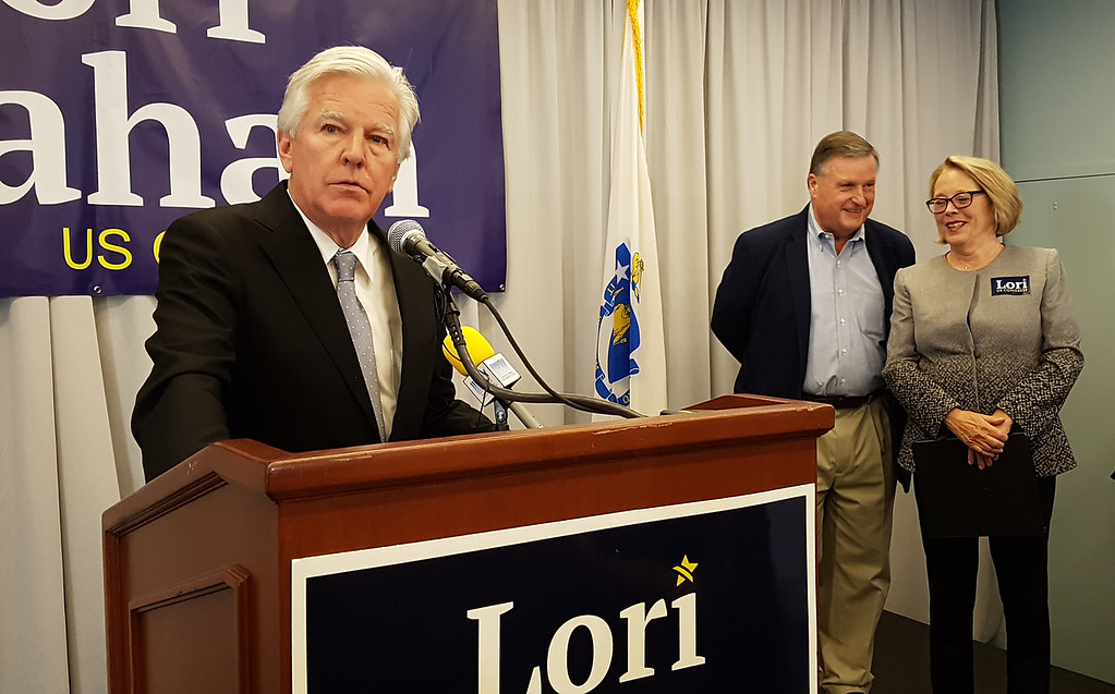 . Predecessors in the Lowell area congressional seat, Marty Meehan, Chet Atkins and incumbent Niki Tsongas take turns speaking as Lori Trahan wins 3rd Congressional District seat. (SUN/Julia Malakie)