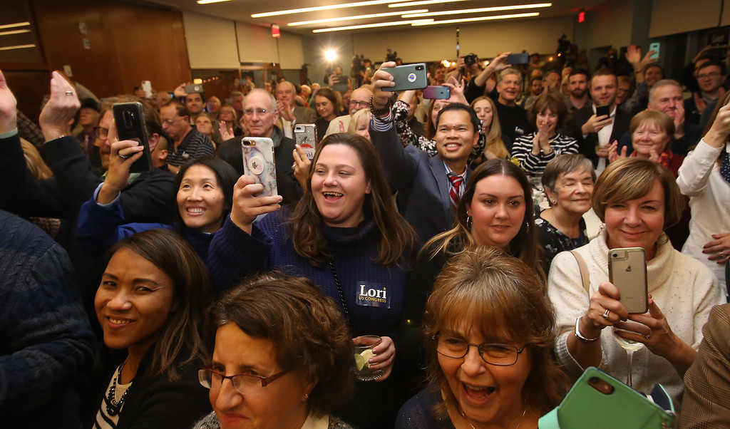 . Lori Trahan wins 3rd Congressional District seat.  Supporters cheer Lori Trahan. (SUN/Julia Malakie)