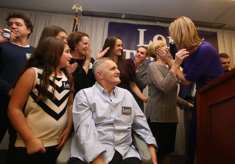 Lori Trahan wins 3rd Congressional District seat. Lori Trahan greets her mother Linda Loureiro as her niece Ellie D'Amico, 8, of Andover, left, father Tony Loureiro, and other family members look on. (SUN/Julia Malakie)