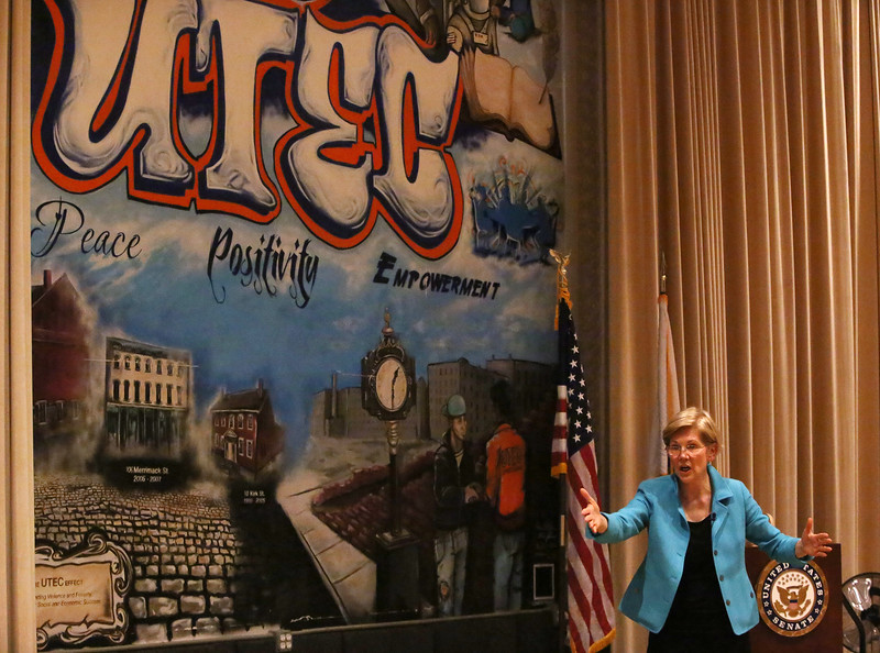 Sen. Elizabeth Warren holds a town hall meeting at UTEC in Lowell. (SUN/Julia Malakie)