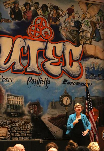 Sen. Elizabeth Warren holds a town hall meeting at UTEC in Lowell. (SUN/Julia Malakie)
