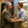 U.S. Rep. and Democratic hopeful for U.S. Senate Joe Kennedy III greets Tony Archinski of Dracut after a town hall at Lowell High School. (SUN/Julia Malakie)