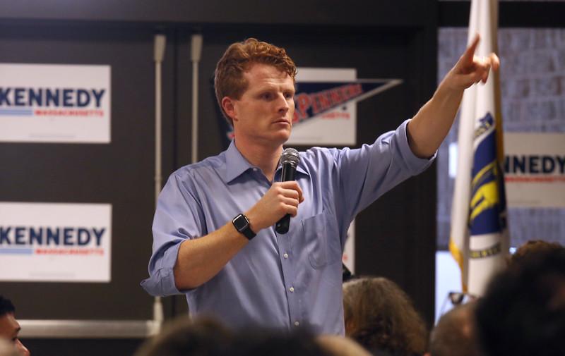 U.S. Rep. and Democratic hopeful for U.S. Senate Joe Kennedy III holds a town hall at Lowell High School. (SUN/Julia Malakie)
