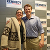 U.S. Rep. and Democratic hopeful for U.S. Senate Joe Kennedy III poses for a photo with Stephanie Riddle of Lowell after a town hall at Lowell High School. (SUN/Julia Malakie)