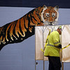 Steve Dunn votes in town election at Littleton High School, the polling place this year.  JULIA MALAKIE/LOWELLSUN
