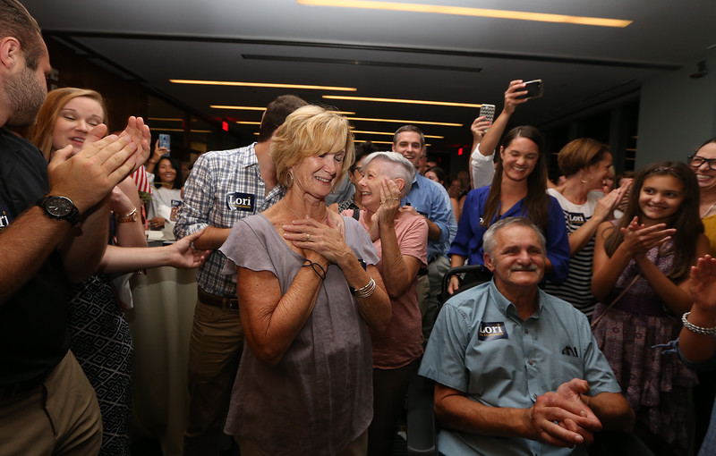 Lori Trahan primary night party for Massachusetts 3rd Congressional District Democratic primary. Crowd sings Happy Birthday to Lori's mother Linda Loureiro, center. (SUN/Julia Malakie)