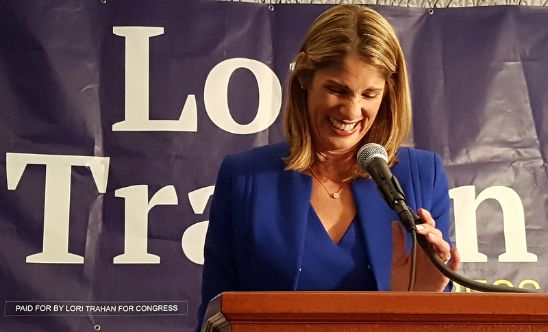 Lori Trahan speaks to supporters after narrowly winning the Massachusetts 3rd Congressional District Democratic primary.  (SUN/Julia Malakie)