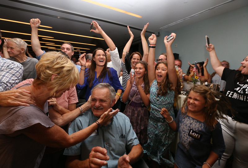 Lori Trahan wins Massachusetts 3rd Congressional District Democratic primary. Family and supporters celebrate announcement of her narrow win. At front left are Trahan's parents Tony and Linda Loureiro, and at front right is Trahan's daughter Grace, 8. (SUN/Julia Malakie)