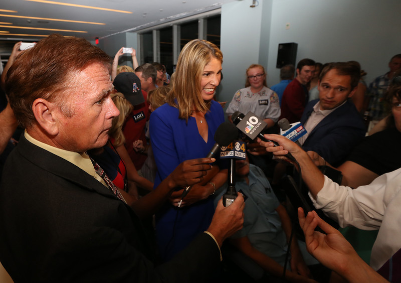 Lori Trahan talks to reporters after narrowly winning the Massachusetts 3rd Congressional District Democratic primary.  (SUN/Julia Malakie)