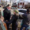 State Rep. Dave Nangle thanks supporters  holding signs at Andover and Nesmith Streets in Lowell. (SUN/Julia Malakie)