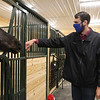 State Rep. Dave Robertson says hello to Tinder in the new building at Strongwater Farm, a therapeutic riding center. He helped them lease state land at Tewksbury State Hospital to build the new building for an indoor riding arena and offices. (SUN/Julia Malakie)
