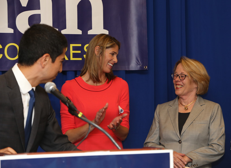 Democractic congressional candidate Lori Trahan hosts unity event with former primary opponents, and U.S. Rep Niki Tsongas, a day after officially being delcared winner of the primary. From left, Dan Koh, Lori Trahan and Niki Tsongas. (SUN/Julia Malakie)